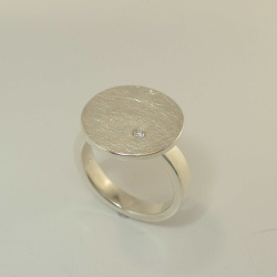 SET - Anhänger, Seidencollier, Ring & Ohrringe aus Silber - Handarbeit