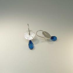 Ohrringe Hänger Silber 925 mit blauem Bernstein - handgefertigt