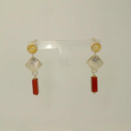 Ohrringe Pendel Silber 925 mit Citrin und Karneol - handgefertigt