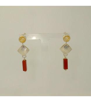 Ohrringe Pendel 925 Silber mit Citrin und Karneol -...