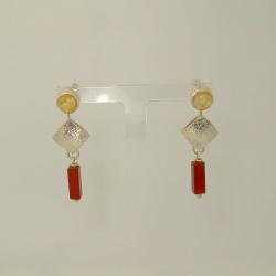 Ohrringe Pendel Silber 925 mit Citrin und Karneol -...