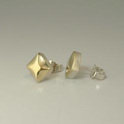 """SET Anhänger mit Kette & Ohrringen """"Raute"""" aus 925-Silber mit 585-Gelbgold"""