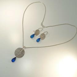 SET - Collier & Ohrringe Silber 925 mit blauem...