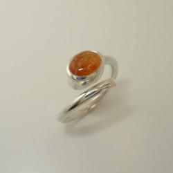 Silber-Ring mit ovalem Aventurin-Sonnenstein -...