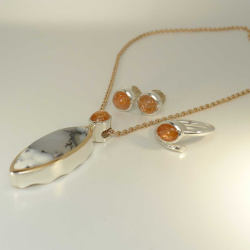 SET - Collier - Ohrringe - Ring mit Achat & Aventurin Sonnenstein - Silber & Rotgold