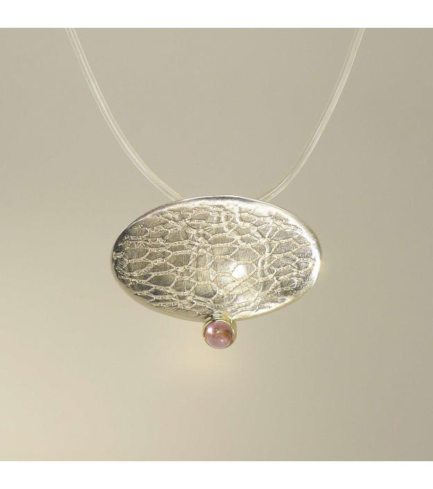 Silberanhänger Handarbeit mit rosa Turmalin in 585/- Gelbgold gefasst