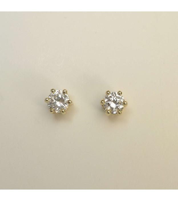 Ohrstecker 585 Gelbgold 6 Krappen & Diamant / Brillant - Total 0,77 ct (H) W-si