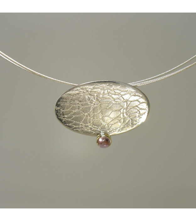 SET - Silberanhänger & Halsreif mit rosa Turmalin in 585/- Gelbgold gefasst